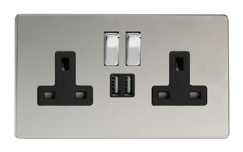 Varilight XDC5U2SBS Screwless Polished Chrome 2 Gang Double 13A Switched Plug Socket 2.1A USB